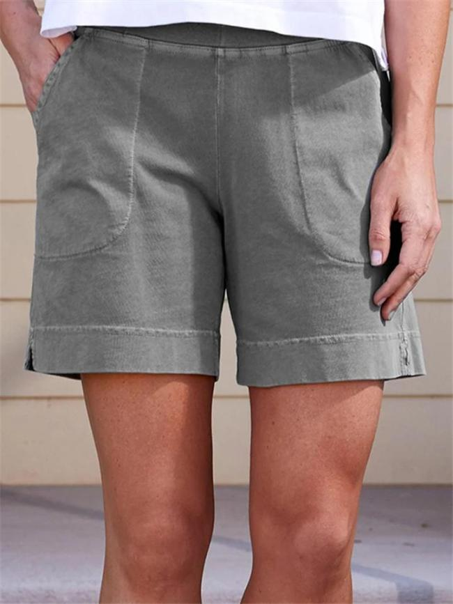 Loose Fit Laid-Back Style Patch Pocket Elastic Waistband Thigh-Length Shorts