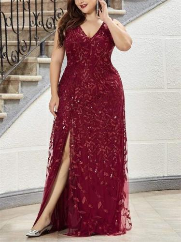 Gorgeous Sequined Side Split Maxi Dress for Evening Party