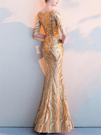 Stunning Sequined Fitted Waist Mesh Mermaid Dress for Formal Party
