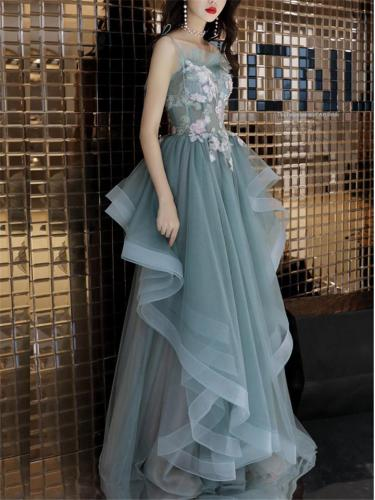 Pretty Applique Asymmetrical Ruffle Gown for Evening