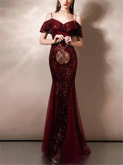 Stunning Sequined Off Shoulder Cap Sleeve Mermaid Dress for Evening Party
