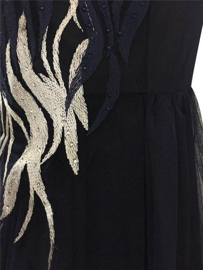 Elegant Embroidery Mesh A Line Dress for Prom