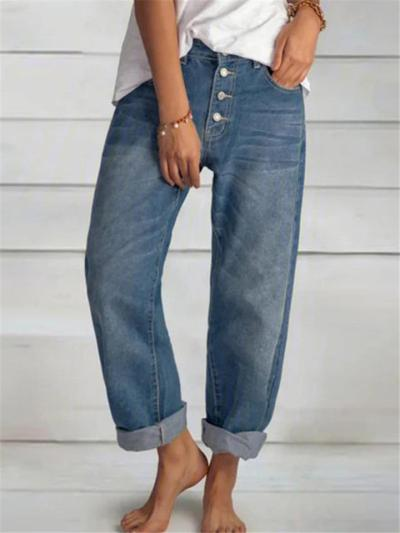 Casual Fit Classic Pocket Washed Effect Full-Length Straight Silhouette Jeans