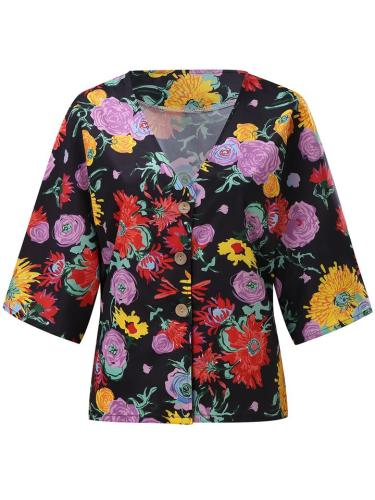 Vibrant All-Over Floral Print V Neck Button Fastening Straight Hem Tops