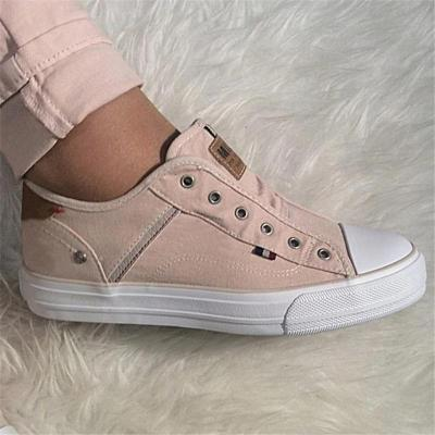 Contrasting Heel Counter Low-Top Flat Rubber Sole Canvas Sneakers