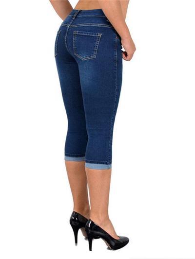 Slim Fit Stretch-Design Distressed Detailing Turn-Up Hem Cropped Jeans
