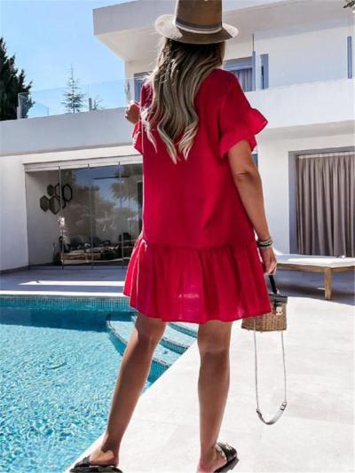 Oversized Style Drawstring V Neck Ruffled Detailing Pleated Hem Dress