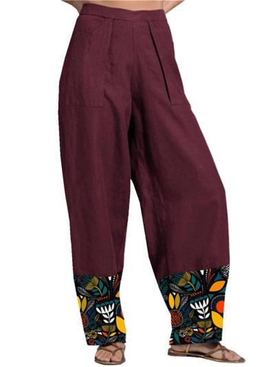 High-Rise Patch Pocket Wide-Leg Floral Print Full-Length Pants