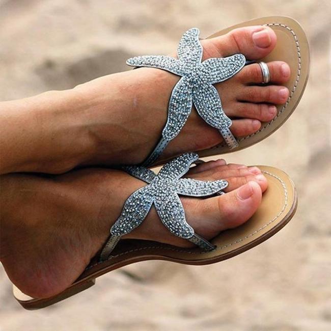 Starfish-Embellished Lightweight Flat Rubber Sole Soft Footbed Flip-Flops