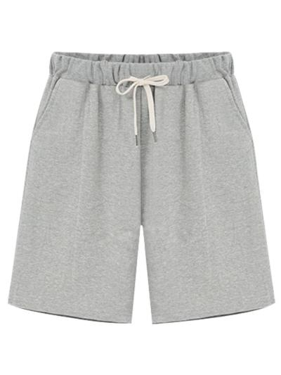 Soft Cotton Straight Silhouette Drawstring Side Pocket Thigh-Length Basic Shorts