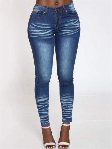 Skinny-Cut Indigo Blue Stonewashed Effect Stretchy Jeans