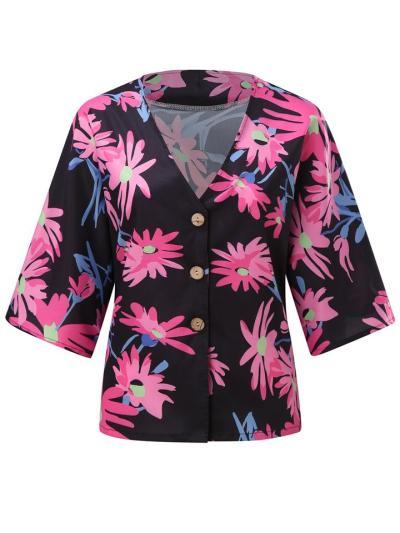 Vibrant All-Over Floral Print V Neck Button Fastening Straight Hem Tops