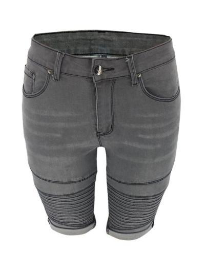Skinny-Cut Stonewashed Effect Pleated Design Turn-Up Hem Knee-Length Jeans