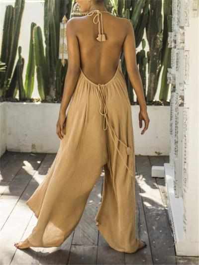 Light Floating Backless Pleated Detailing Rear Tie Fastening Full-Length Jumpsuit