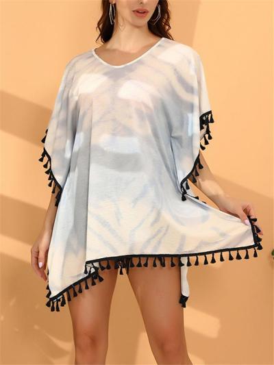 Round Neck Tie-Dye Cap Sleeve Tassel Trim Pullover Swim Cover-Up
