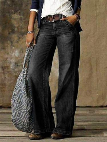 Casual Style Classic Pocket Wide-Leg Faded Effect Full-Length Lightweight Jeans