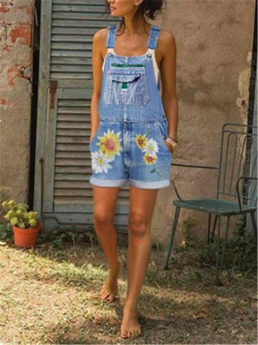 Relaxed Shaped Sunflower Print Folded Hem Thigh-Length Pocket Bibs