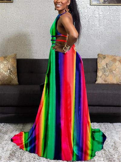 Sexy Pretty Tie-Dye Backless Halter Neck Rear Tie Fastening Full-Length Dress
