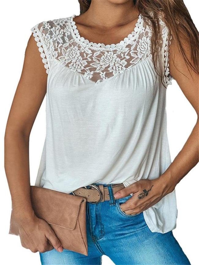 Casual Trendy Round Neck Floral Lace Detailing Sleeveless Lightweight Vest