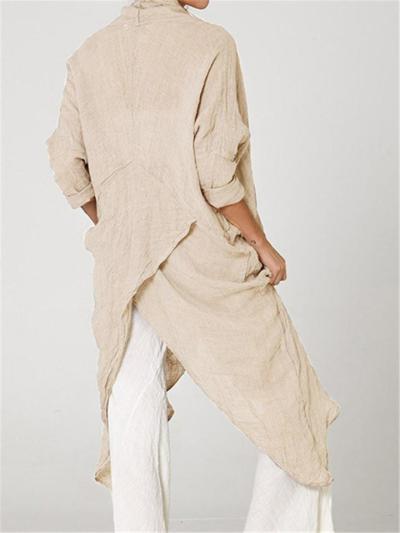 Oversized Style Cowl Neck Wrap Hem Design Patch Pocket Pullover Tops