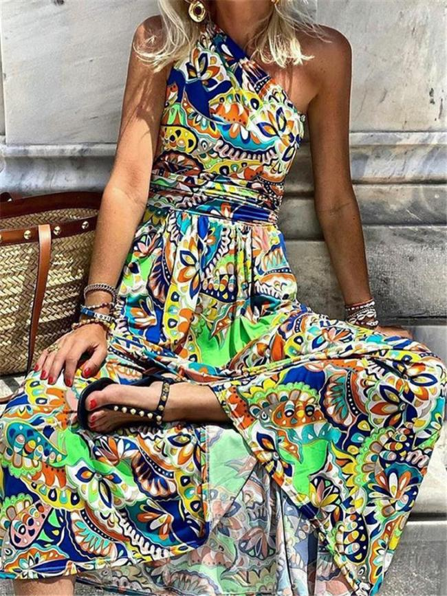 Bohemian Style One Shoulder All-Over Abstract Print Pleat Detailing Maxi Dress