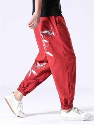 Casual Loose Vintage Linen Print Harem Pants