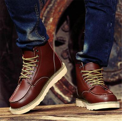 Trendy High-Cut Lace-Up Genuine Leather Fur Lining Boots