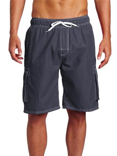 Loose Stitching Drawstring Elastic Waist Knee Jeans