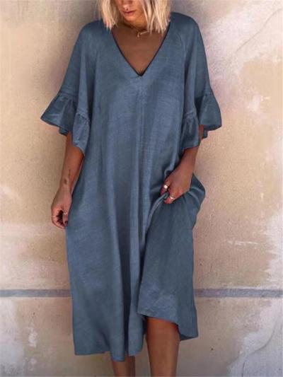 Oversized Style V Neck Ruffled Cuff Half Sleeve Dropped Waist Midi Dress