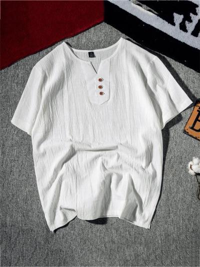Breathable Loose Casual Linen V Neck Short Sleeve T-Shirts