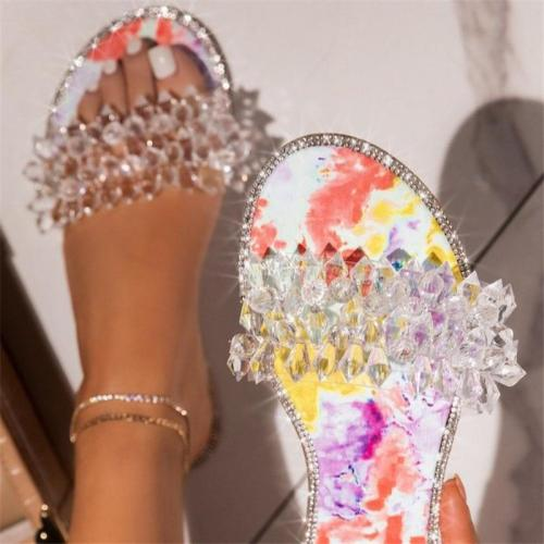 Elegant Multicolor Front Rhinestone Embellished Flat Heel Slippers Sandals