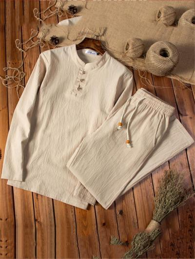 Vintage Cotton&Linen Long Sleeved T-Shirts+Trousers