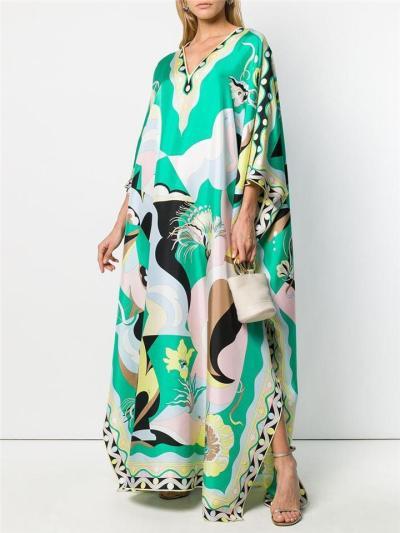 Oversized Style All-Over Graphic Print Side Slit Hem Floor-Length Dress
