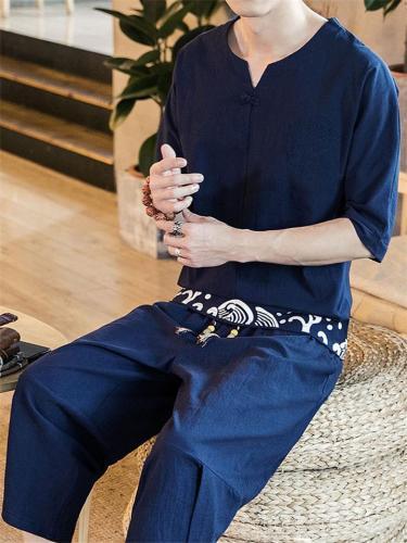 Loose Casual Linen Lightweight  Short-sleeved T-shirt + Trousers