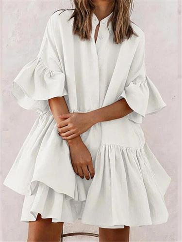 Pleat Detailing Band Collar Front Button Fastening Thigh-Length Shirt Dress