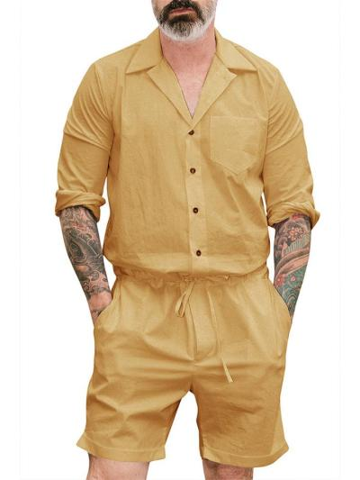 Casual Pure Color Classic Jumpsuits For Men