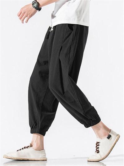 Fashion Loose Lightweight Plain Elastic Waist Pants