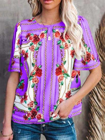 Relaxed Shape Casual Fit Vibrant Floral Print Short Sleeve Straight Hem T-Shirt