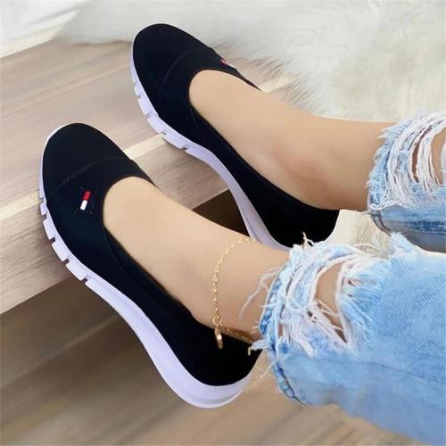 Casual Style Wedge Heel Low-Top Thick-Bottom Contrasting Design Loafers