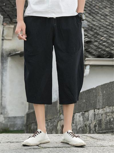 Casual Comfy Loose Vintage Linen Cropped Harem Pants