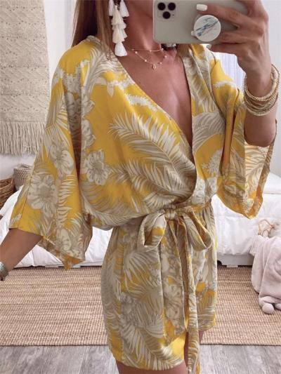 Cozy Casual Plant Print Wrap Front Waist Tie Lightweight Nightwear Playsuit