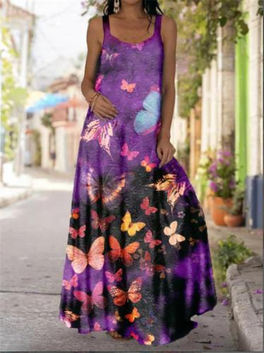 Bohemian Style All-Over Floral Print Scoop Neck Flare Full-Length Dress