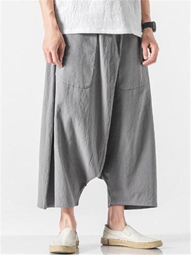 Retro Irregular Personality Baggy Hip Hop Linen Pants