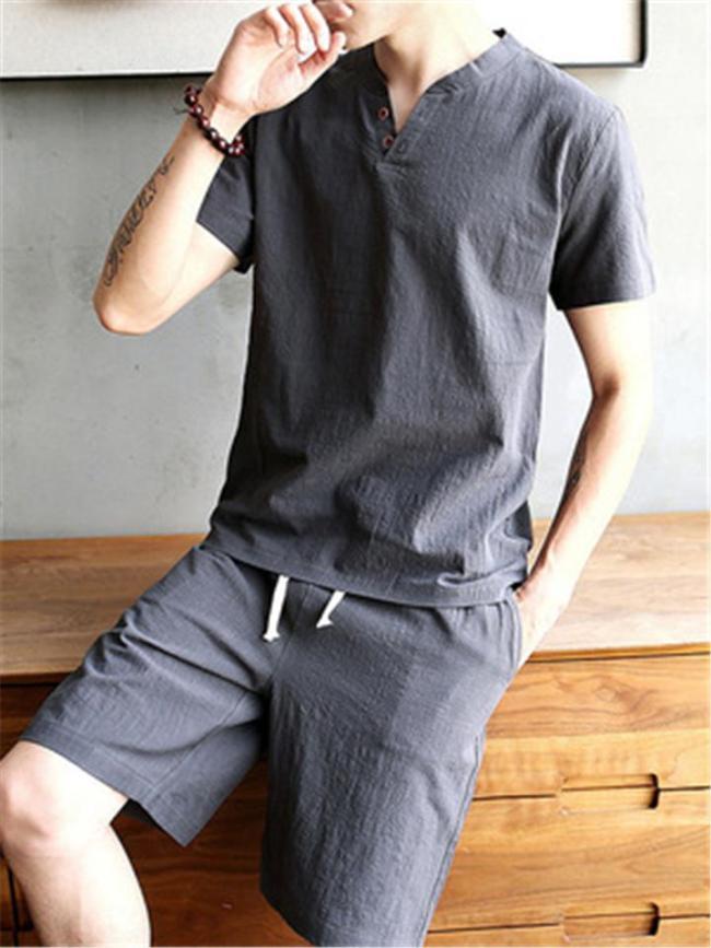 Comfy Fashion Cotton&Linen Retro Short Sleeved T-Shirts+Shorts