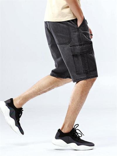 Casual Loose Denim Knee Shorts With Multi Pockets