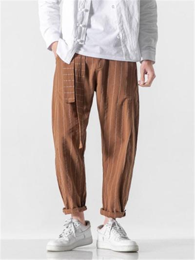Loose Casual Elastic Waist Cotton&Linen Pants