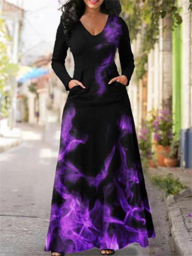 On-Trendy All-Over Floral Print V Neck Flare Full-Length Pocket Dress