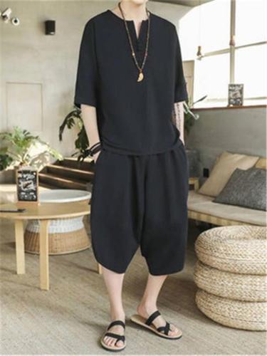 Comfy Fashion Cotton&Linen Retro Short Sleeved T-Shirts+Trousers