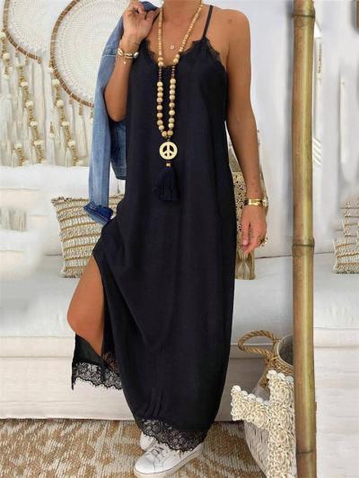 Feminine Design Floral Lace Inserting Spaghetti Strap Side Slit Hem Dress