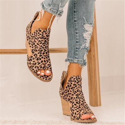 On-Trendy Cutout Detailing Wedge Heel Leopard Pattern Peep Toe Sandals